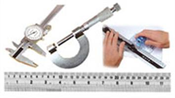 Steel rules, vernier gauges and micrometers for accuate measurements.