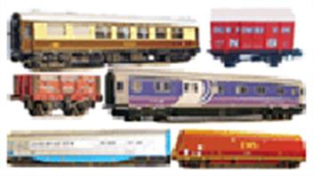 N gauge model railway rolling stock. Passenger coaches and goods wagons.