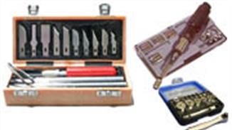 Boxed knife and tool sets. Basic tool sets for plastics, wood and general modelling.