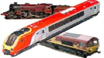 N gauge model trains by Dapol and Bachmann Graham Farish. Steam and diesel locomotive models.