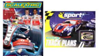 Scalextric slot car racing catalogues and track plans books.