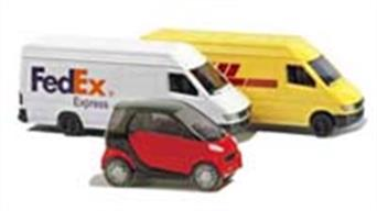 A range of diecast model cars in 1/160 scale (European N),but also suitable for British N gauge model railways.