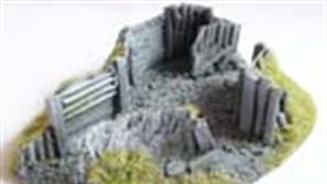Resin and plastic battlefield diorama and wargame details. Shell craters, fox holes, trenches and emplacements.