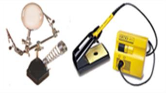 Soldering irons, solder and flkux for soldering plus stands and soldering accessories.