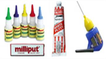 A range of adhesives including polystyrene cements and cyanoacrylate superglue, plus model filler materials