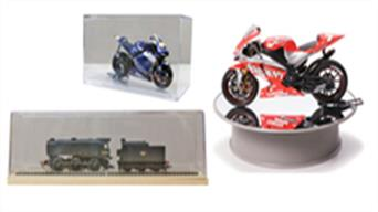 Plastic display cases and covers to display models and keep the dust at bay.