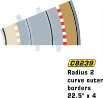 Radius 2 curve outer borders 22.5 degrees x 4