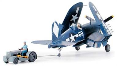 Tamiya 1/48 Vought F4U-1D Corsair Kit with Moto-Tug 61085On April 1944. The F4U-1D became the first Corsair version to be officially approved for carrier operation. the small moto tug which is included with this model was ideal for manoeuvring the aircraft on carrier runways.Glue and paints are required