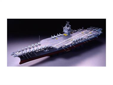 Tamiya's 1/350th 78007 superbly detailed plastic kit of the modern USS Enterprise CVN-65 can be completed to an exhibition standard. It is complete with F-14 Tomcat, A-7 Corsair, F-18 Hornet, S-3 Viking and A-6 Intruder aircraft and is full hull with a display stand.Model Length 1005mm.