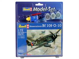 Revell 1/72 Messerschmitt BF 109 G-10 Model Set 64160Length 126mm Number of Parts 37  Wingspan 138mmComes with glue and paints to assemble and complete the model.