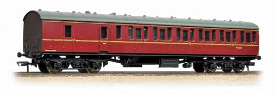 Starting in 1951 British Railways produced a range coaches to a new standard design, utlising a modular system of construction to control the costs. The range included non-corridor suburban type coaches with a large number of side doors to permit rapid boarding and detraining, as required for the intensive suburban services around Britains largest cities.Bachmanns' models reproduce the detail of these coaches, with a range of types being available to form a prototypical train This model is the second class brake coach, with compartments for second class passengers and accommodation for the guard with a small luggage area.Era 5 1957-1966