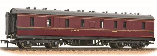 A very good model of the LMS 50-foot long gangwayed parcels brake van painted in the LMS crimson lake livery. These vehicles were seen all over the railway network, as parcels vans worked regularly to destinations away from the LMS. Era 4. 1948-1956
