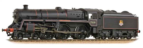A detailed OO scale model of British Railways standard class 5MT 4-6-0 73118 King Leodegrance painted in mixed traffic lined black livery with early emblem.