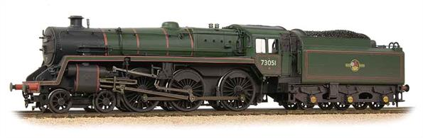 A detailed model of the British Railways standard class 5MT 4-6-0 locomotives finished as 73051 in the later lined green livery with lion holding wheel crest. Weathered finish.