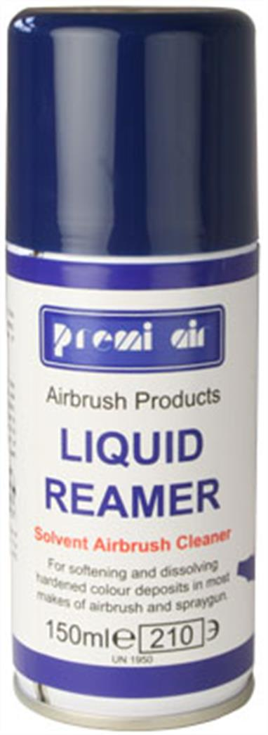 Premi Air Liquid Reamer is a highly recommended end-of-session airbrush cleaner for extra thorough cleaning away of solvent-based and oil-based products. You can use the straw to direct the aerosol spray at the airbrush nozzle and front parts of your airbrush, up into where the bottle attaches on a bottom-feed airbrush or down into the cup of a gravity feed airbrush.