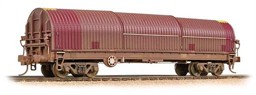A detailed model of the Thraal steel strip/coil carrier wagons with their distinctive semi-circular sliding canopy covers. The enclosed canopy provides weather protection to the steel, preventing surface damage due to rust spots forming, while allowing easy access to the interior for loading/unloading by fork-truck or crane.