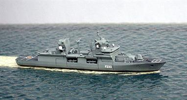 This 1/1250 model is of Nordrhein-Westfallen, the latest frigate to enter service with the German Navy.