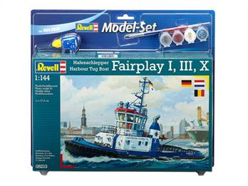 Revell 1/144 Harbour Tug Boat Model Set 65213Length 179mm	Number of Parts 103Comes with glue and paints to assemble and complete the model.