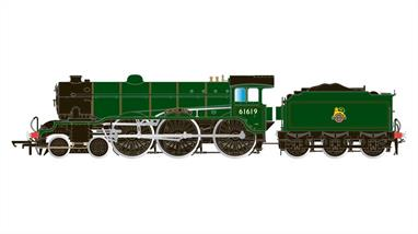 Hornby Railways R3448 OO Gauge BR 61619 Welbeck Abbey B17 Class 4-6-0 British Railways Apple Green Livery and Early EmblemA well detailed model of the LNERs B17 class 4-6-0, known as Sandringhams (from the class leader, 2800 Sandringham) or Footballers (from the Soccer clubs name theme used for later members of the class). Equiped with large diameter driving wheels the B17 was a useful locomotive for secondary express and cross-country trains.DCC Ready 8-pin decoder required for DCC operation.