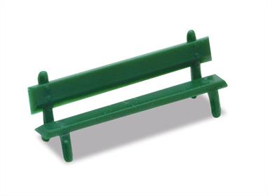 A pack of twelve station benches in green, which can be placed to add interest to a station platform, or any open park space on a layout.