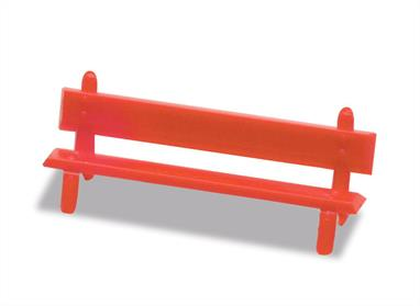 A pack of twelve station benches in red, which can be placed to add interest to a station platform, or any green space on a layout.