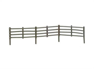 The unique design of the Flexible Field Fencing System allows the fencing to follow the landscape contours in a prototypical manner with post remaining vertical. Moulded in wether coloured plastic with square posts and correct section triangular rails. Supplied in packs of 5 sprues to make a total length of 1066mm