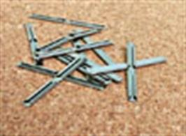 A pack of 24 Peco sl10 fishplates (Rail Joiners) for connecting rail ends together. Provides both mechanical and electrical bonding. For use with Peco Code 100 rail (OO/HO and O-16.5/On30) and code 124 rail (O gauge bullhead track)