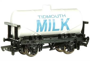 Model of the Tidmouth Milk tank wagon from the Thomas the Tank Engine books and TV series.