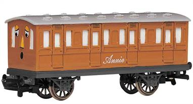 Model of Thomas the Tank Engine's coach Annie from the Thomas the Tank Engine books and TV series.