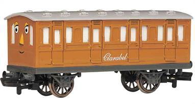 Model of Thomas the Tank Engine's coach Clarabel from the Thomas the Tank Engine books and TV series.