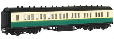 Model of a composite passenger coach from Gordon the big engine's express train from the Thomas the Tank Engine books and TV series.