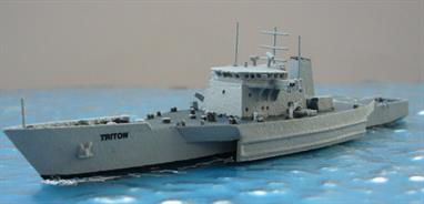 A 1/1250 scale model of HMS Triton 2001-05 by Albatros SM Alk320.Albatros's die-cast metal ship miniature of the trimaran trials ship originally built for DERA, now Quineticq for proof of concept for Royal Navy trimaran frigate by Vosper Thornycroft in 2000. On completion of these trials, Triton was sent to Australia in 2005 where she was used to try out the concept of a trimaran customs vessel with a new sensor suite and two RHIBs. The ship, now in Guardine Marine Services ownership returned to the UK and was refitted as a survey vessel with new sensors and extra temporary staff accommodation, new engines and a bow thruster and is currently based in Norfolk.