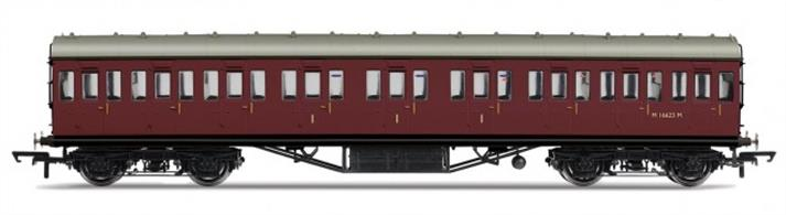 Hornby R4658 OO Gauge BR ex-LMS 57ft Suburban Composite Coach Crimson Livery Dimensions - Length 242mm.A new model of the LMS standard 57-feet length non-corridor or suburban type coach, as used on suburban, stopping and branchline services. This composite coach contained compartments for first and third class passengers and would frequently be formed between two brake third coaches to provide a small number of first class seats in the train. Model finished in British Railways crimson livery. Features: Handrails, Separate roof vents