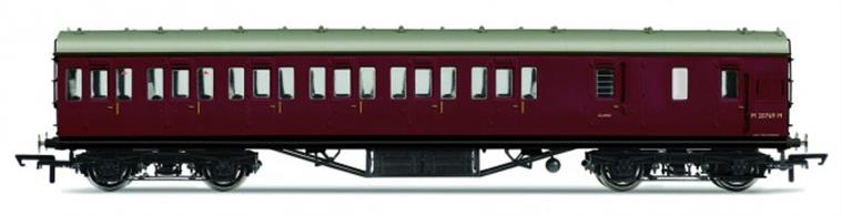 Hornby R4678 OO Gauge BR ex-LMS 57ft Suburban Brake Third Class Coach BR Crimson LiveryDimensions - Length 242mm.A new model of the LMS standard 57-feet length non-corridor or suburban type coach, as used on suburban, stopping and branchline services. Most coach 'sets' would be formed with one of these brake third coaches at each end, with composite and third class coaches between them to make up the seating capacity required. Two-coach sets would also be formed with one brake third and one composite coach and brake third coaches were also used singly on some short branchlines.Model finished in British Railways crimson livery.Features: Handrails, Separate roof vents