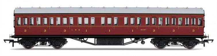 Hornby R4656A OO Gauge LMS 57ft Suburban Composite Coach LMS Crimson LiveryDimensions - Length 242mm.A new model of the LMS standard 57-feet length non-corridor or suburban type coach, as used on suburban, stopping and branchline services. This composite coach contained compartments for first and third class passengers and would frequently be formed between two brake third coaches to provide a small number of first class seats in the train. Model finished in LMS crimson lake livery.Special Features: Handrails, Separate roof vents