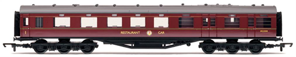 Hornby Railways OO Gauge BR ex-LMS 68' Dining/Restaurant Car BR MaroonThis design of LMS dining car was fitted with six wheel bogies to give a smoother ride for passengers while dining.