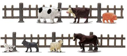 Pack of farmyard animals. Ideal for adding a farm scene to a model railway.