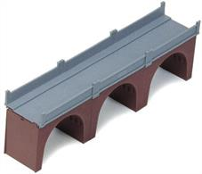 Brick built triple arch single track bridge, track height 80mm length 332mm