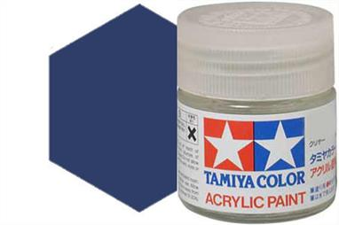 Tamiya X-3 gloss royal blue, acrylic paint suitable for brush or spray painting.