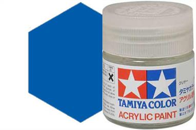 Tamiya X-4 gloss blue, acrylic paint suitable for brush or spray painting.