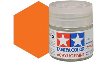 Tamiya X-6 gloss orange, acrylic paint suitable for brush or spray painting.