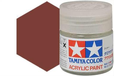 Tamiya X-9 gloss brown, acrylic paint suitable for brush or spray painting.