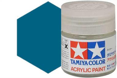 Tamiya X-13 metallic blue, acrylic paint suitable for brush or spray painting.