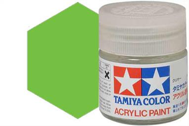 Tamiya X-15 gloss light green, acrylic paint suitable for brush or spray painting.