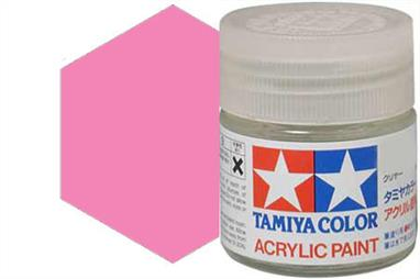 Tamiya X-17 gloss pink, acrylic paint suitable for brush or spray painting.