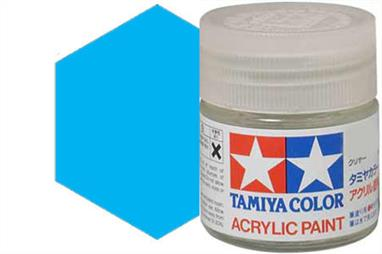 Tamiya X-23 translucent blue, acrylic paint suitable for brush or spray painting. Ideal for tinting clear parts, example car rear lights.