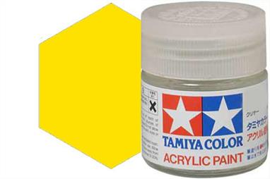 Tamiya X-24 translucent yellow, acrylic paint suitable for brush or spray painting. Ideal for tinting clear parts, example car rear lights.