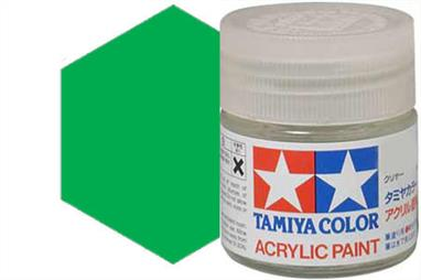Tamiya X-25 translucent green, acrylic paint suitable for brush or spray painting. Ideal for tinting clear parts, example car rear lights.