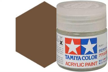 Tamiya XF-68 matt NATO brown, acrylic paint suitable for brush or spray painting.