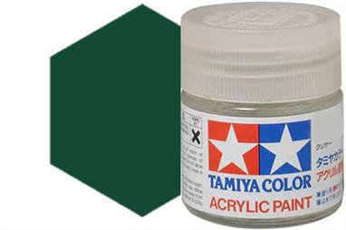 Tamiya XF-27 matt black green, acrylic paint suitable for brush or spray painting.